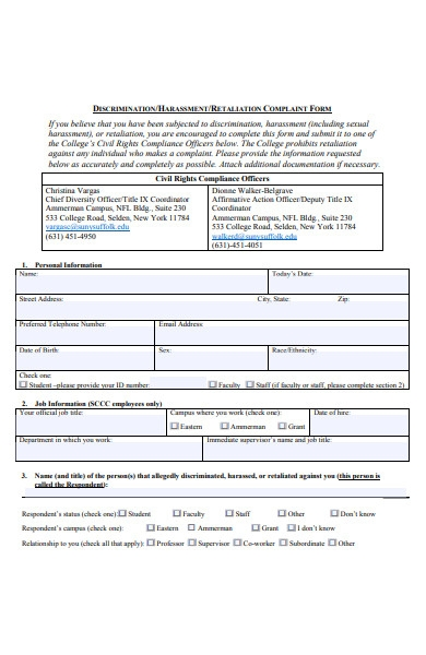 harassment incident complaint forms