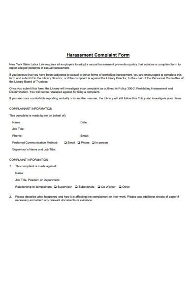 harassment information complaint form