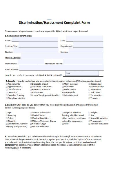 harassment intake complaint form