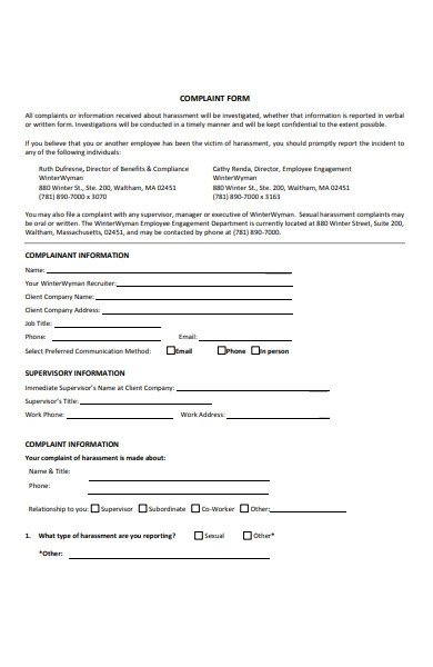 harassment policy complaint form