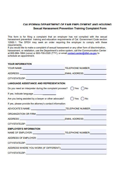 harassment prevention training complaint form
