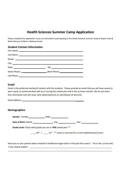 health science summer camp application form