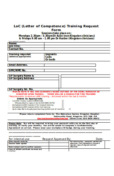 health training request form