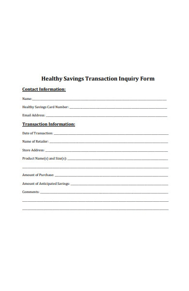 healthy transaction inquiry form