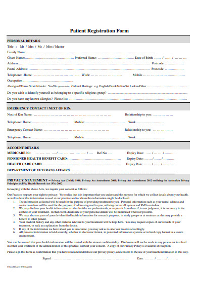 heart attack patient registration form