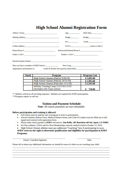 high school alumni registration form