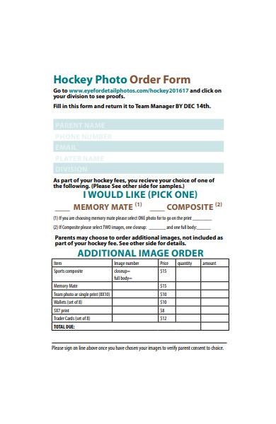hockey photography order form