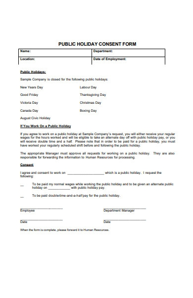 holiday consent request form