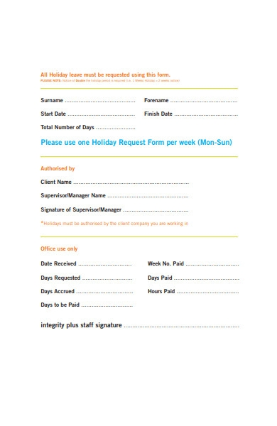 holiday request form per week