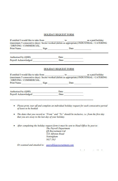 holiday scheme request form