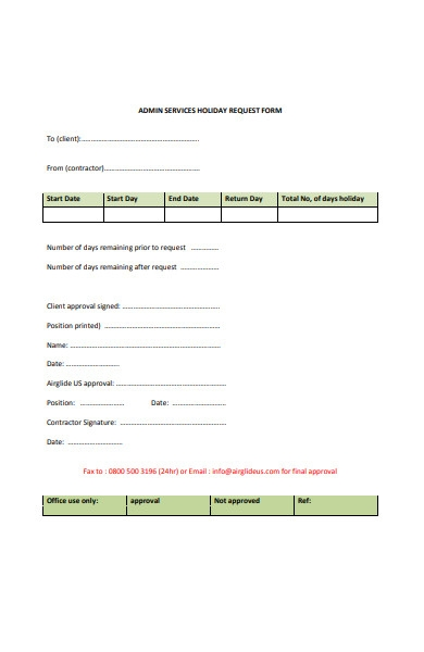 holiday services request form