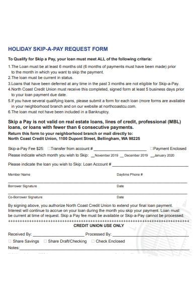 holiday skip pay request form
