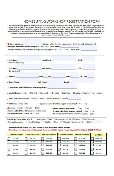 home buying workshop registration form