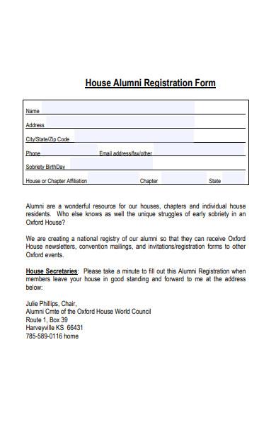 house alumni registration form