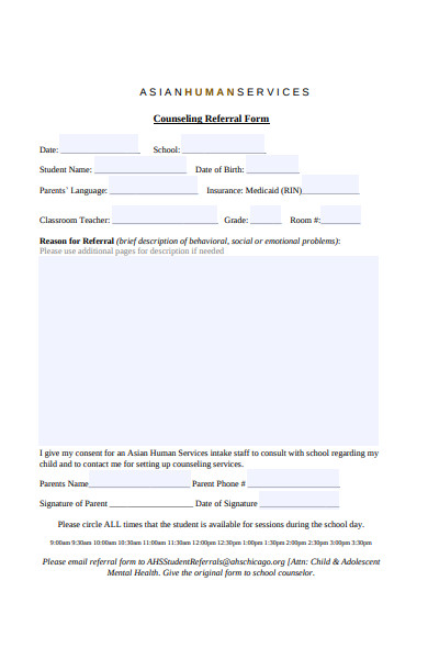 human services counseling referral form