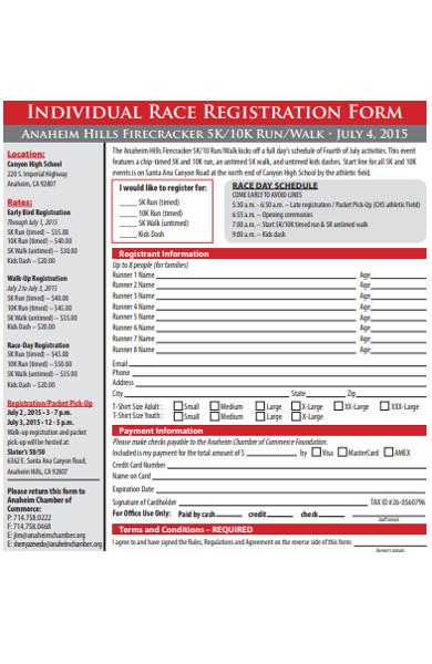 individual race registration form