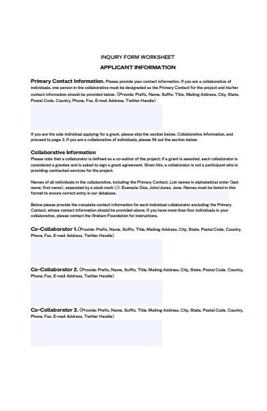 inquiry form worksheet