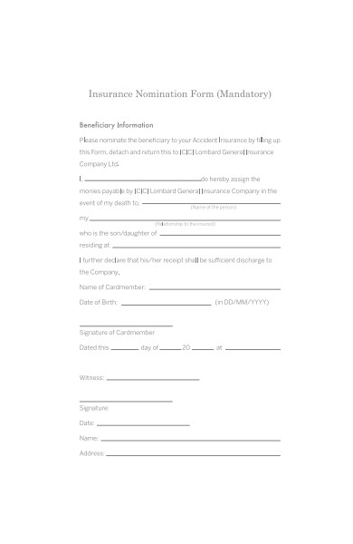 insurance nomination form