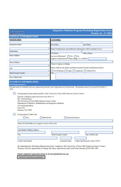 integrative medicine program workshop registration form