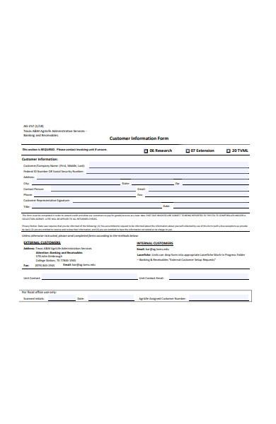 internal customer information form
