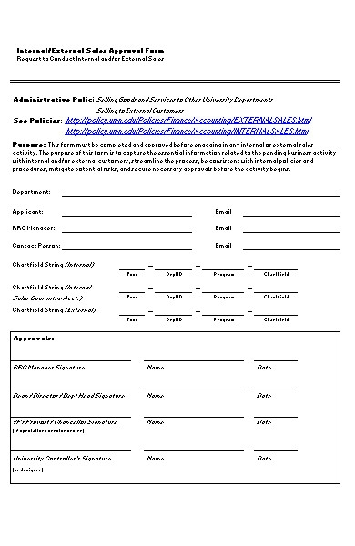 internal sales form
