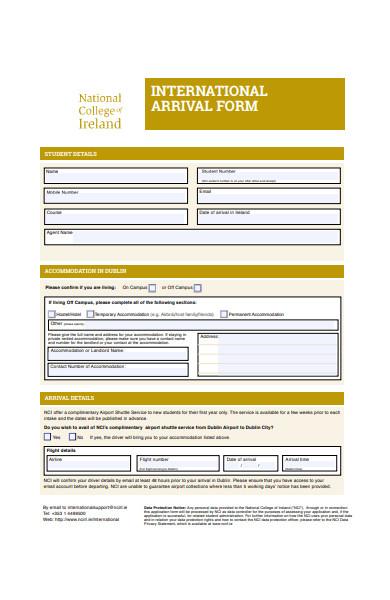 international arrival form