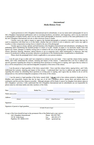 international media release form