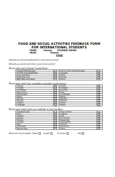 international student feedback form