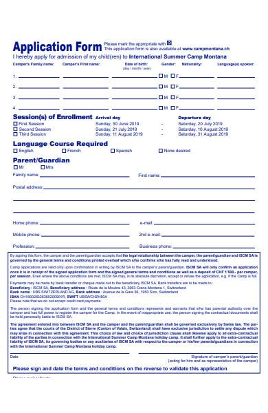 international summer camp application form