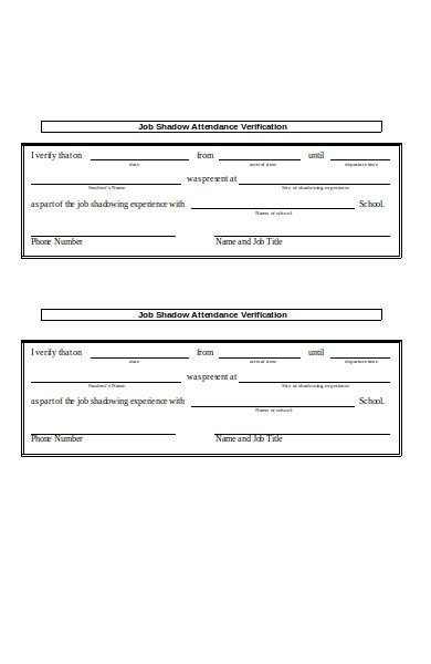 job attendance verification form