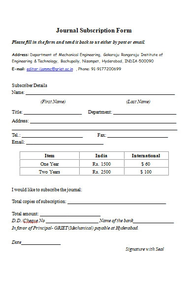 journal subscription form in ms word