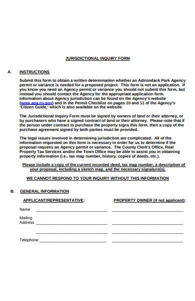 jurisdictional inquiry form