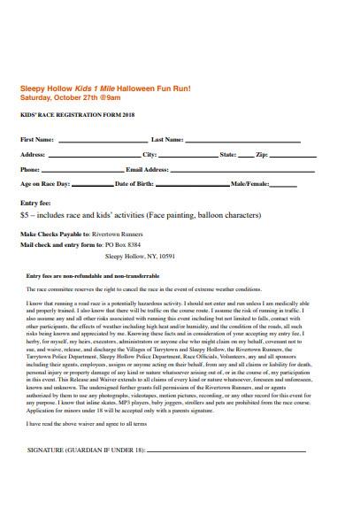 kids 10k race registration form