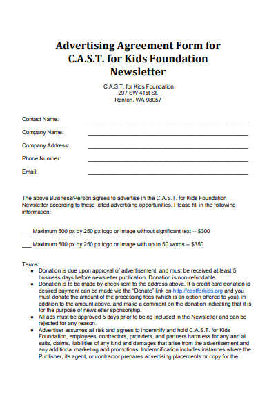 kids foundation advertising agreement form