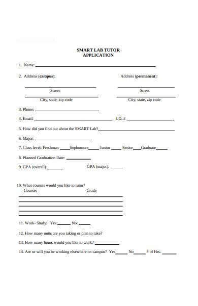 lab tutor application form