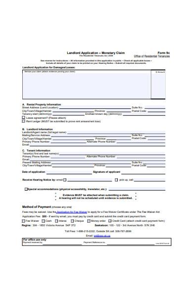 landlord application form sample
