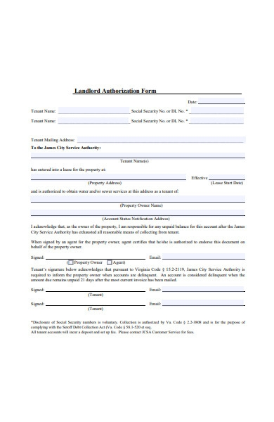 landlord authorization form in pdf