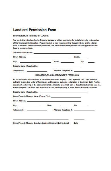 landlord permission form
