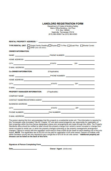landlord registration form