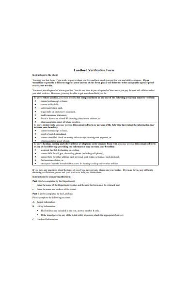landlord verification form in pdf