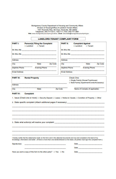 landlord and tenant complaint form in pdf