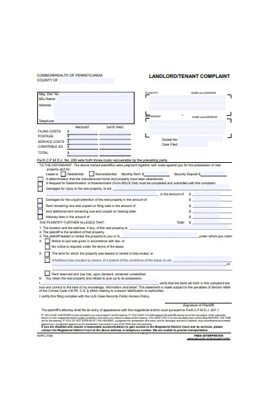 landlord and tenant complaint form