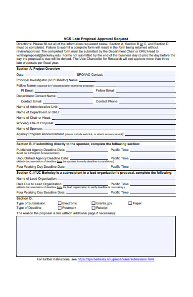 late proposal approval request form