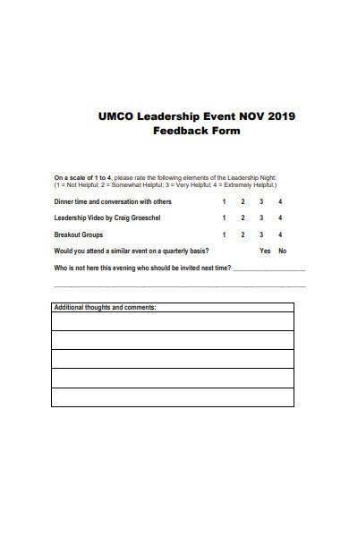 leadership event feedback form