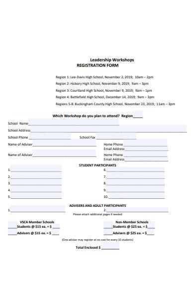 leadership workshop registration form