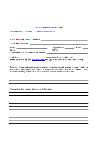 literature approval request form