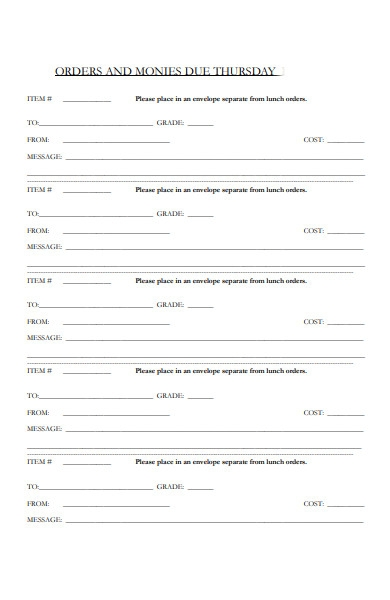lunch cake order form