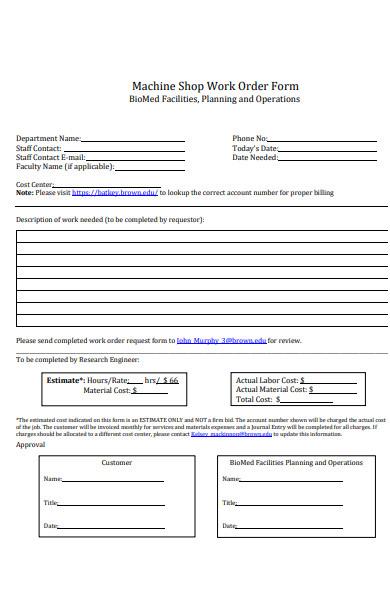 machine shop work order form