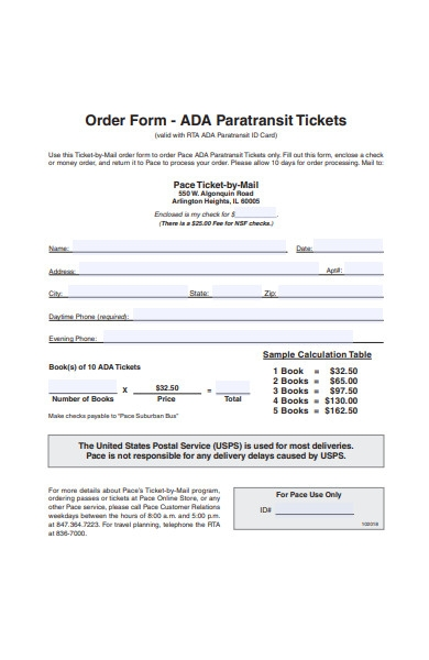 mail ticket order form