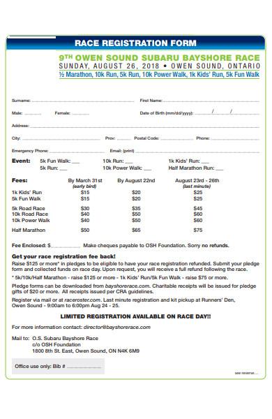 marathon race registration form